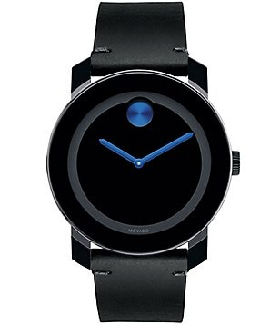 Movado Bold Black Leather Strap Swiss Quartz Stainless Steel Analog Watch