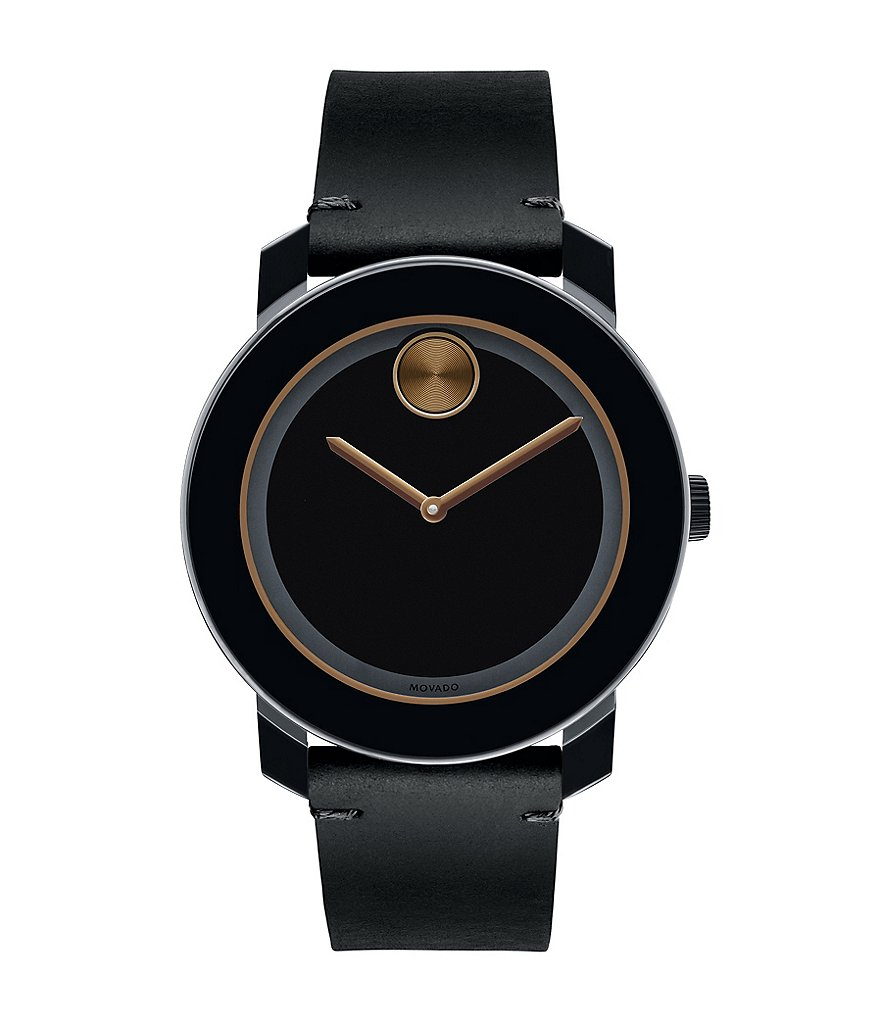 Movado Bold Large Black Leather Strap Watch With Bronze Accents