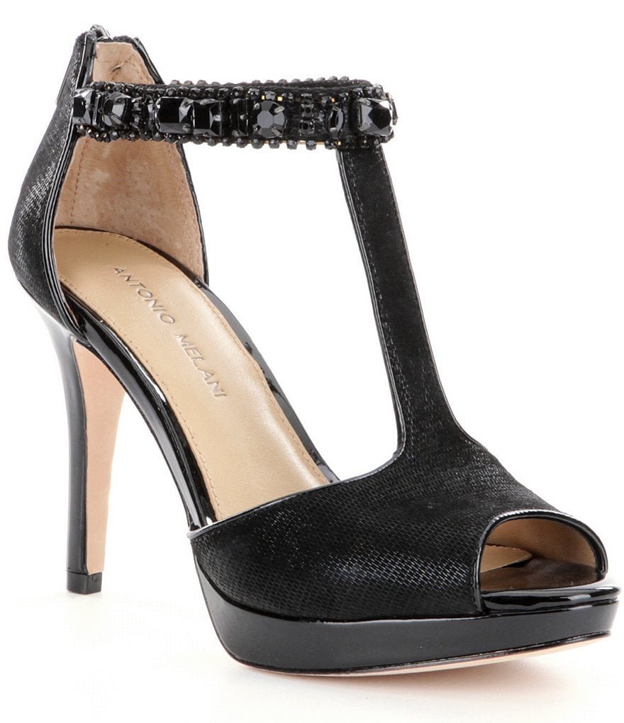 Antonio Melani Carrigan Jeweled Peep-Toe T-Strap Pumps