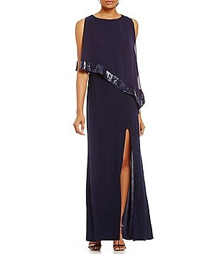 R & M Richards Sequin-Trim Popover Gown