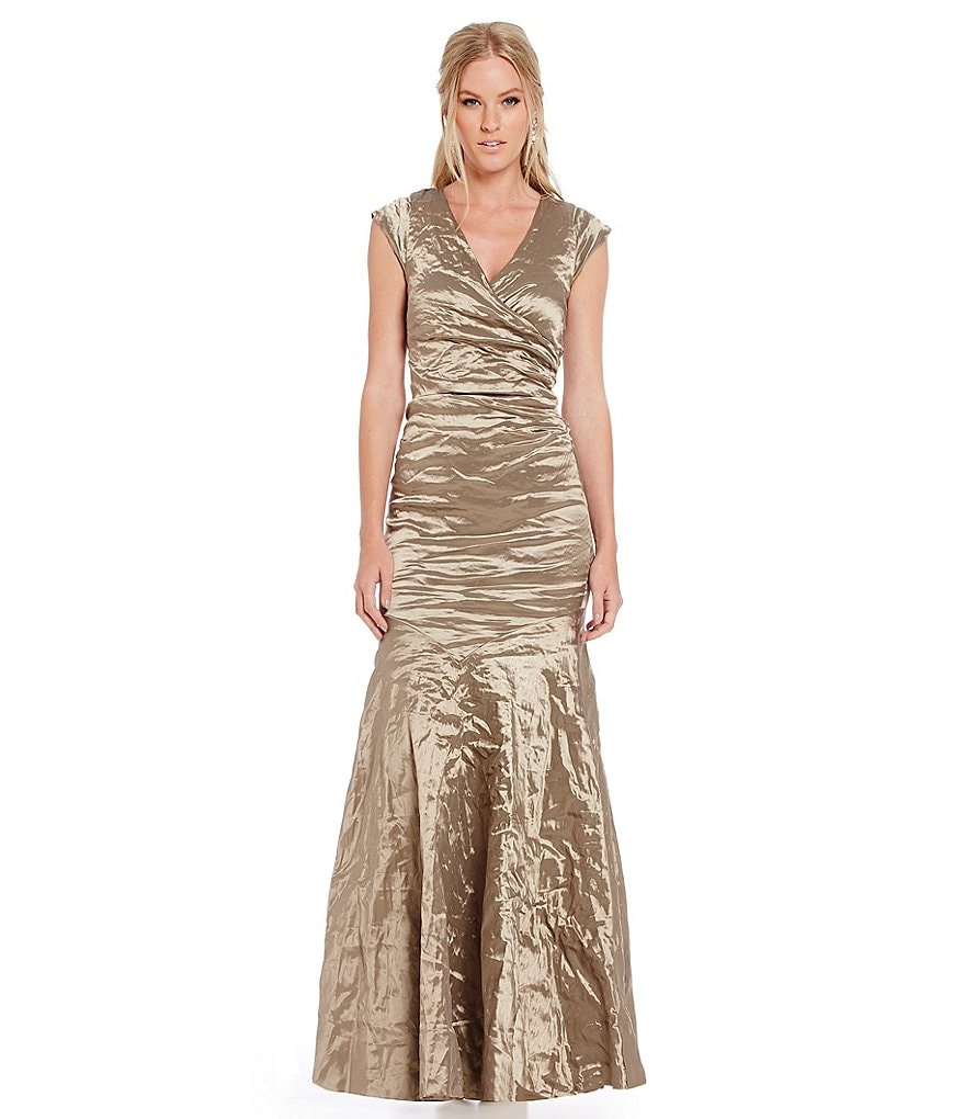 Nicole Miller Collection Techno Metal Surplus Tuck Gown