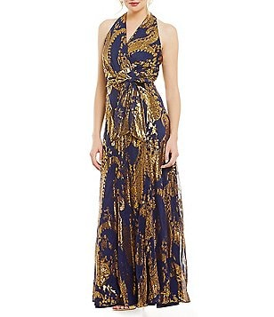 Leslie Fay Printed Halter Maxi Dress