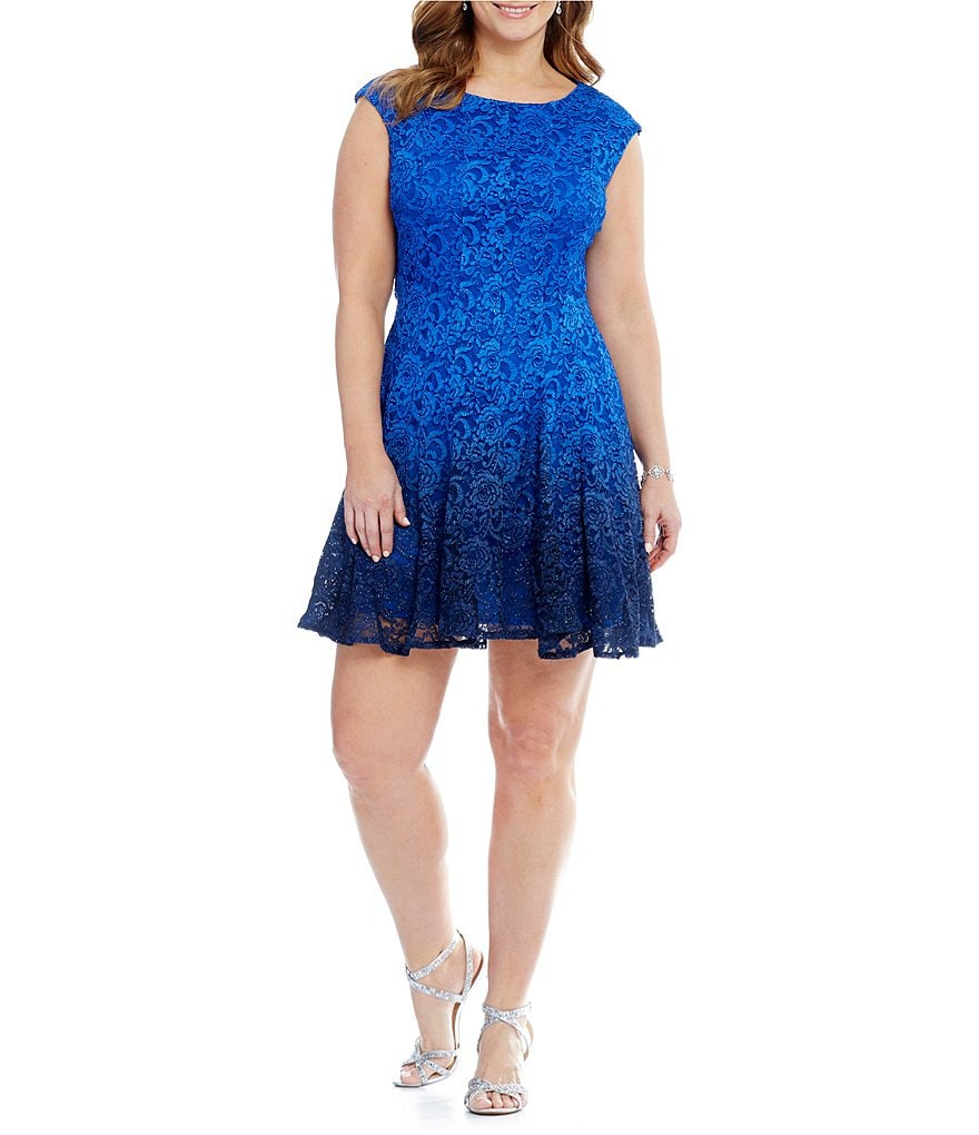 Leslie Fay Plus Glitter Lace Fit-and-Flare Dress