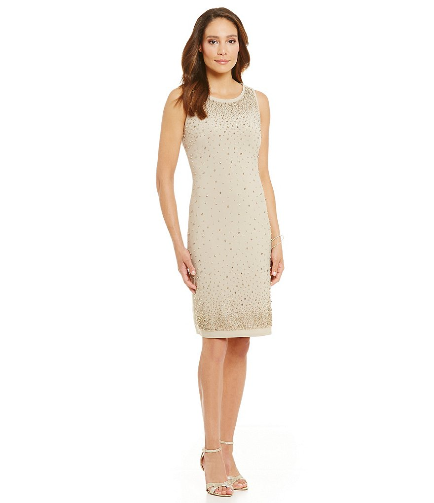 Leslie Fay Sleeveless Beaded Sheath Dress