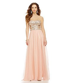 Morgan & Co. AB-Stone Sequin Cut-Out-Sides Gown