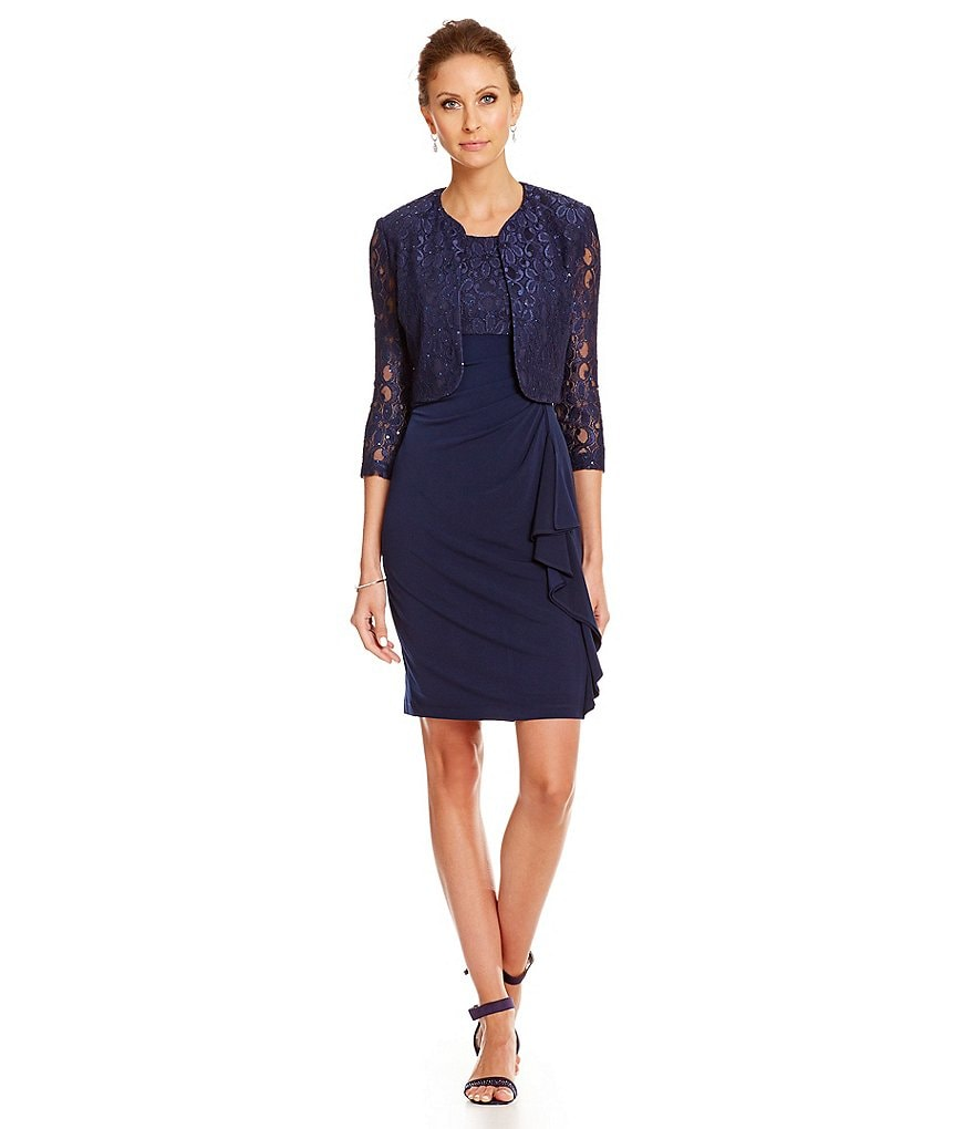 Jessica Howard Cascade Ruffle Jacket Dress