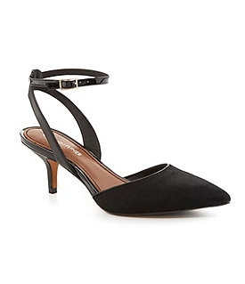 Donald J Pliner Franca Haircalf Ankle-Strap Pointed-Toe d�Orsay Pumps Image