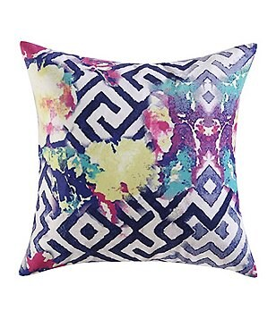 Poetic Wanderlust™ by Tracy Porter Florabella Geometric Floral Velvet & Faux-Silk Square Feather Pillow