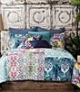 Color:Multi - Image 2 - Poetic Wanderlust™ by Tracy Porter Florabella Geometric Floral Velvet & Faux-Silk Square Feather Pillow