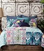 Color:Aqua - Image 2 - Poetic Wanderlust™ by Tracy Porter Florabella Velvet & Faux-Silk Square Feather Pillow