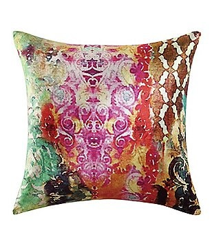 Poetic Wanderlust™ by Tracy Porter Winward Bohemian Mixed-Pattern Velvet & Faux-Silk Square Feather Pillow