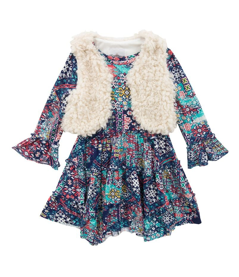 Rare Editions 2T-6X Faux-Fur Vest & Bell-Sleeve Printed Dress Set