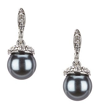 Cezanne Pavé-Capped Faux-Pearl Drop Earrings