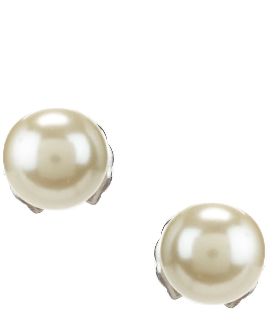 Cezanne Faux-Pearl and Sterling Silver Stud Earrings