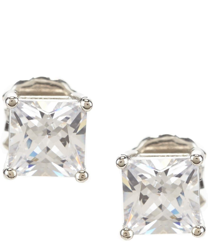 Cezanne Square Cubic Zirconia and Sterling Silver Stud Earrings