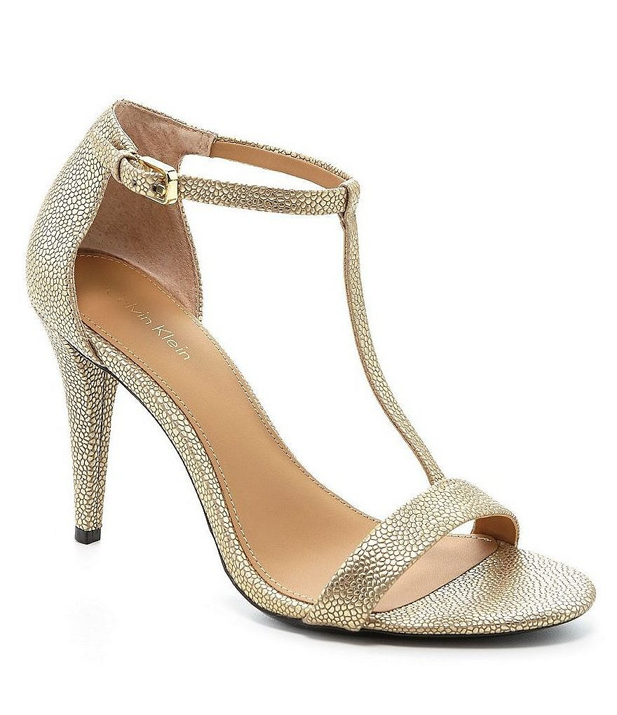Calvin Klein Nasi Metallic Leather T-Strap Dress Sandals