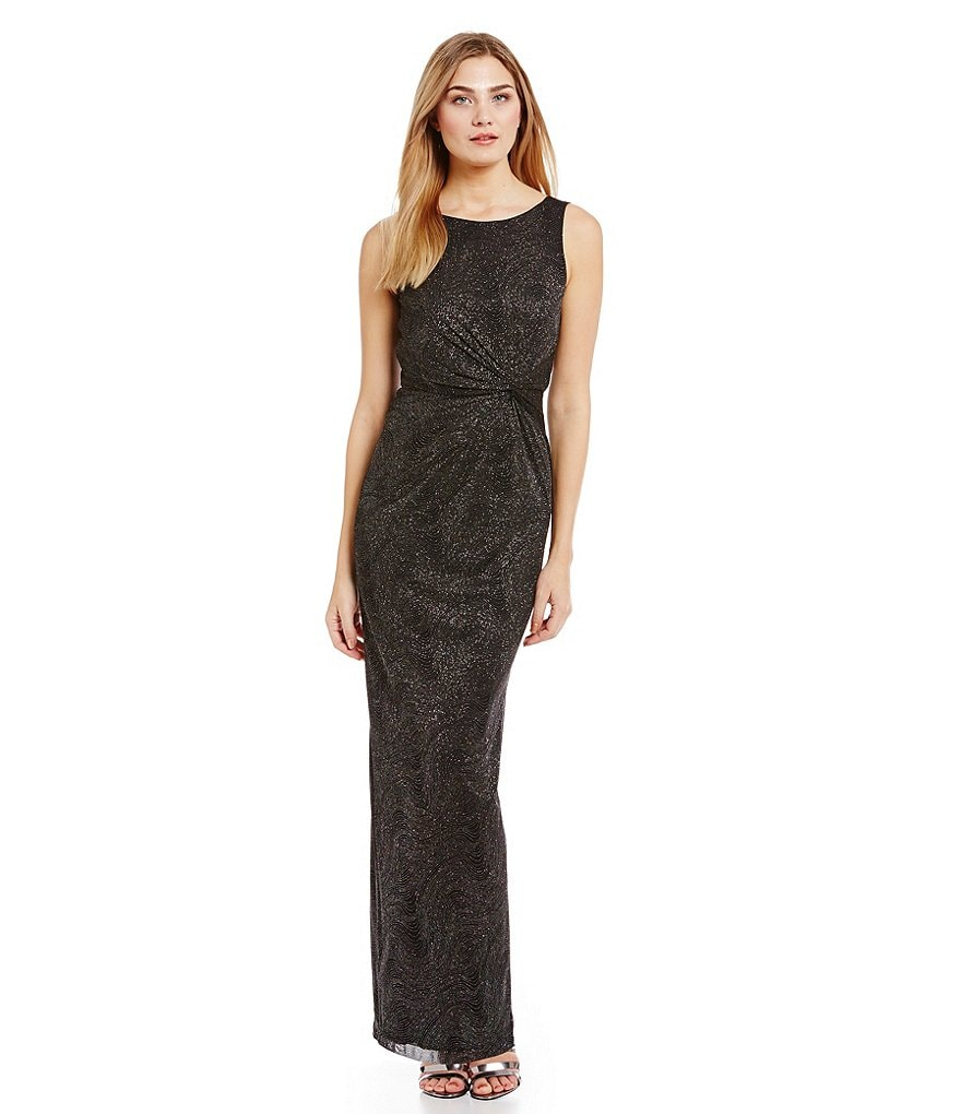 Calvin Klein Ruched-Knot Glitter Knit Gown