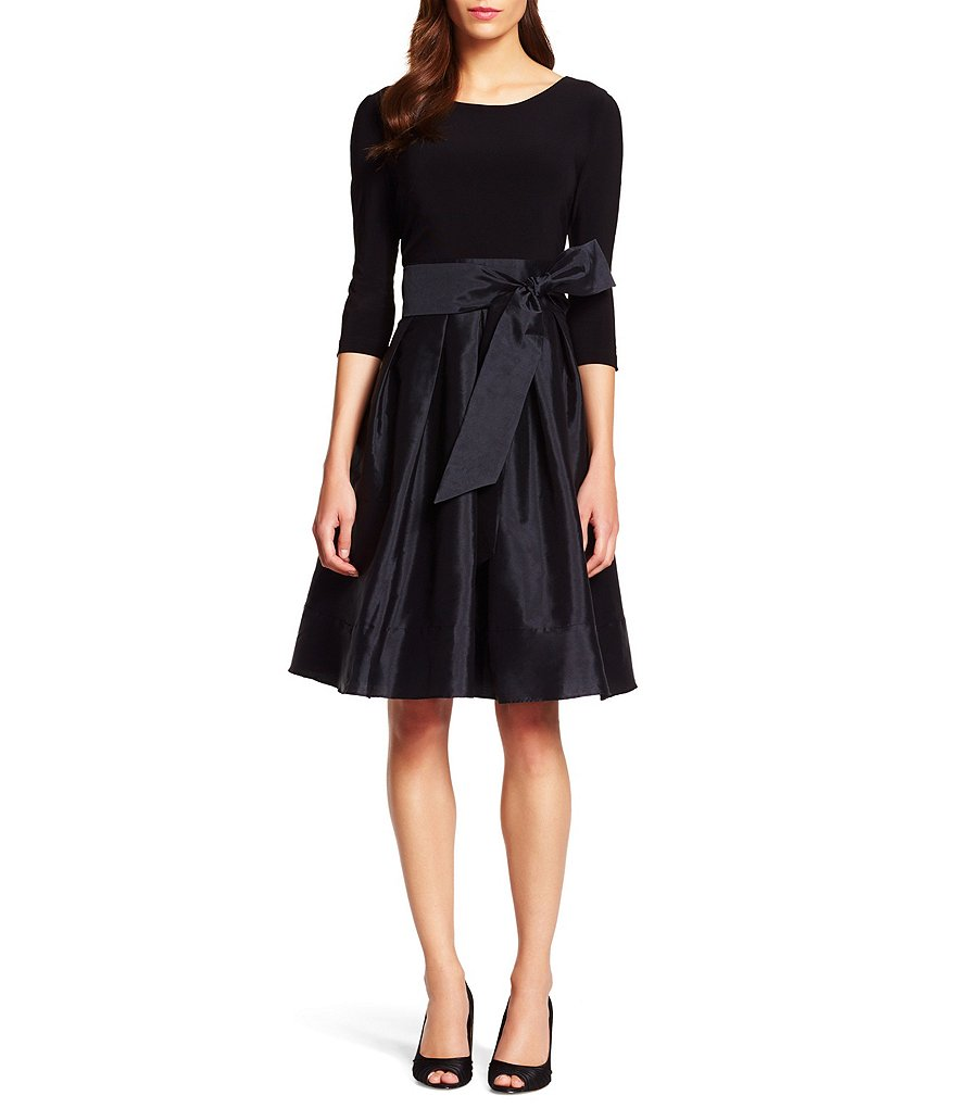 Adrianna Papell 3/4 Sleeve Taffeta Fit-and-Flare Dress