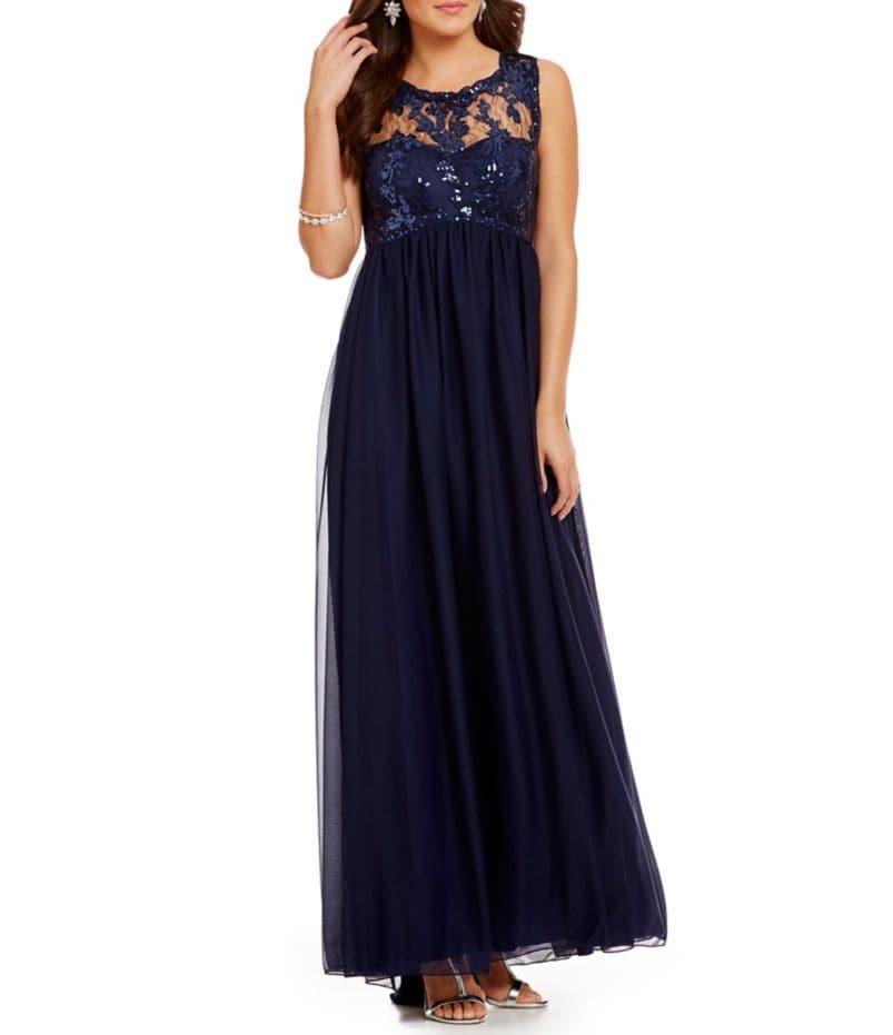 Sequin Hearts Illusion Sequin Lace Bodice Long Dress
