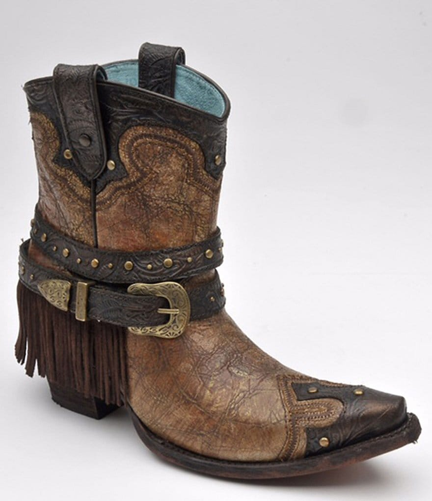 Corral Boots Studded Fringe Ankle Boots