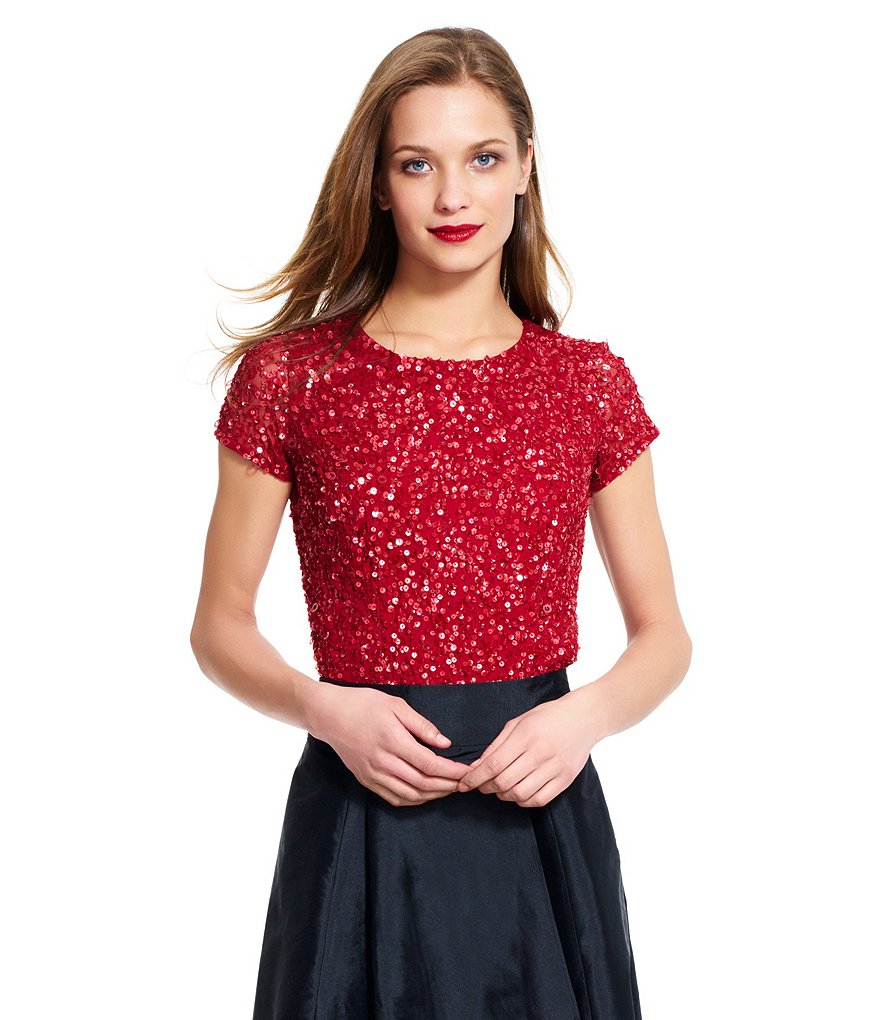 Adrianna Papell Sequin Cap-Sleeve Top