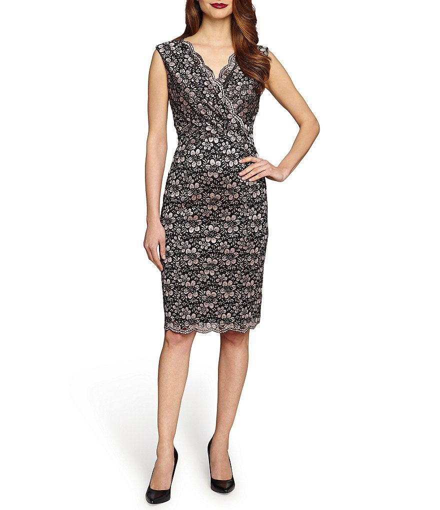Tahari ASL Scalloped Lace Surplice Wrap Sheath Dress