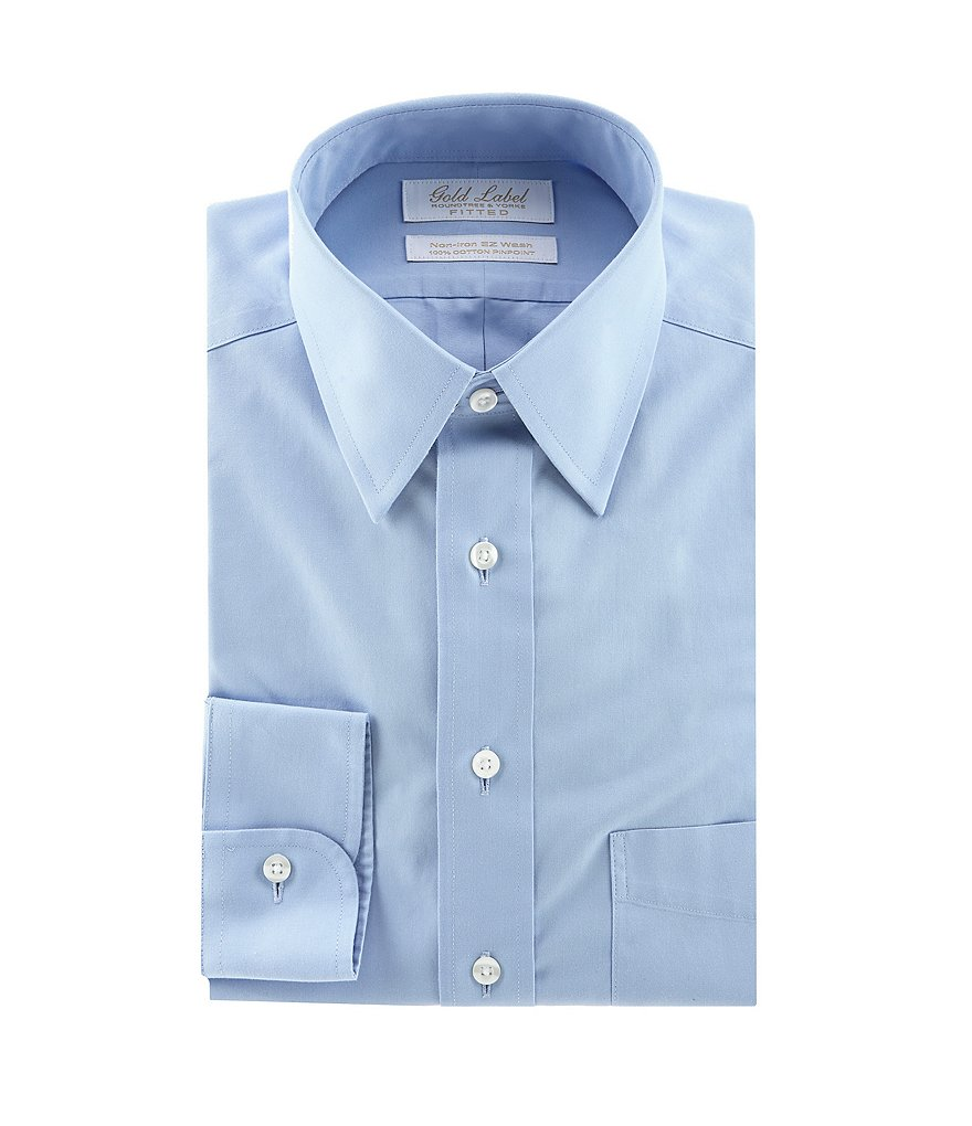 Gold Label Roundtree & Yorke Solid Non-Iron Fitted Classic-Fit Point-Collar Dress Shirt