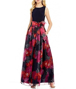 Eliza J Jewel Neck Sleeveless Floral Print Organza Ball Gown