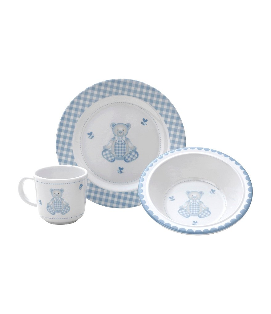 Reed & Barton Gingham Bear Melamine 3-Piece Mealtime Set