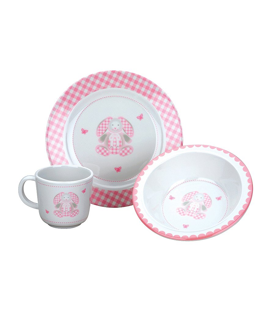 Reed & Barton Gingham Bunny 3-Piece Mealtime Set