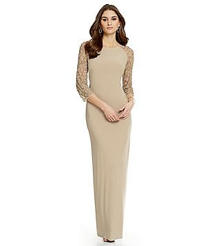 Leslie Fay Beaded Sleeve Gown