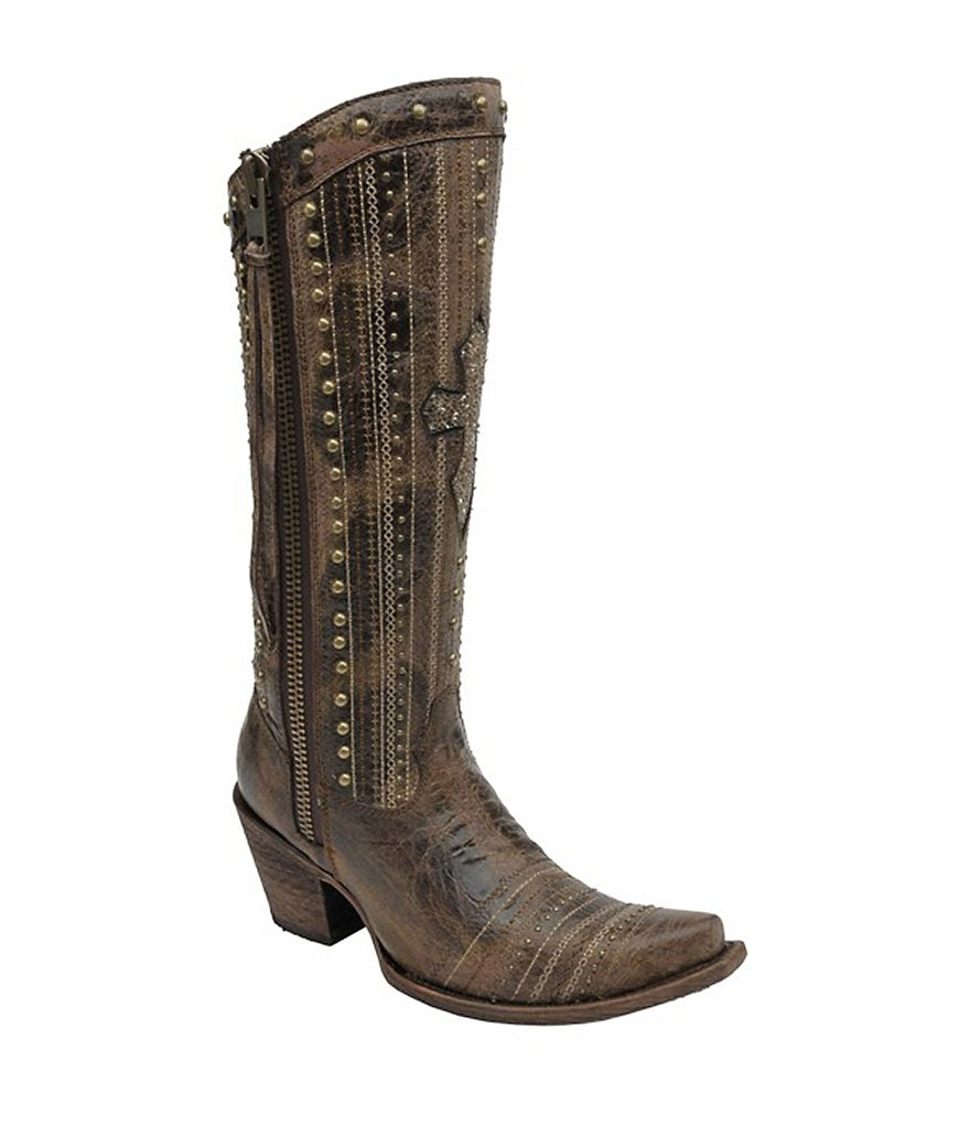Corral Boots Studded Cross Snip-Toe Boots