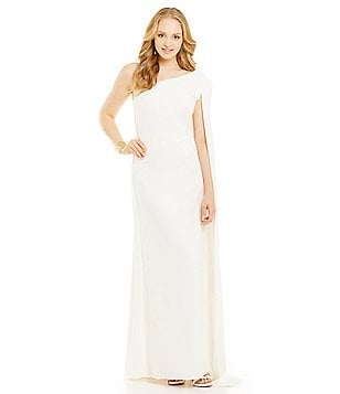 Jill Jill Stuart One-Shoulder Cape Gown