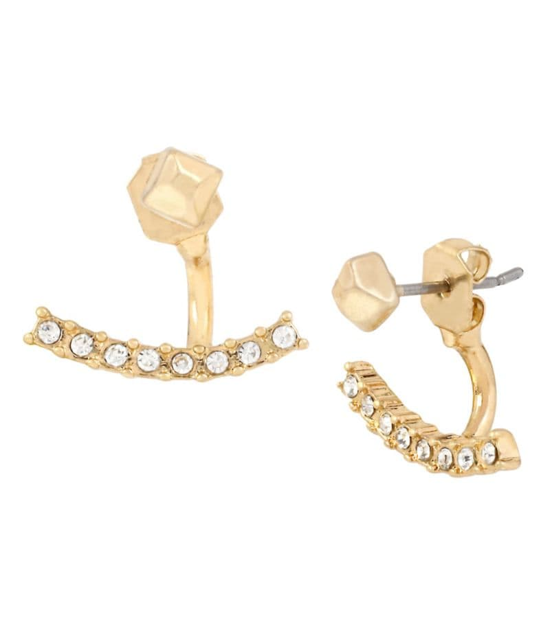 Kenneth Cole New York Pave Curved Bar Front/Back Earrings