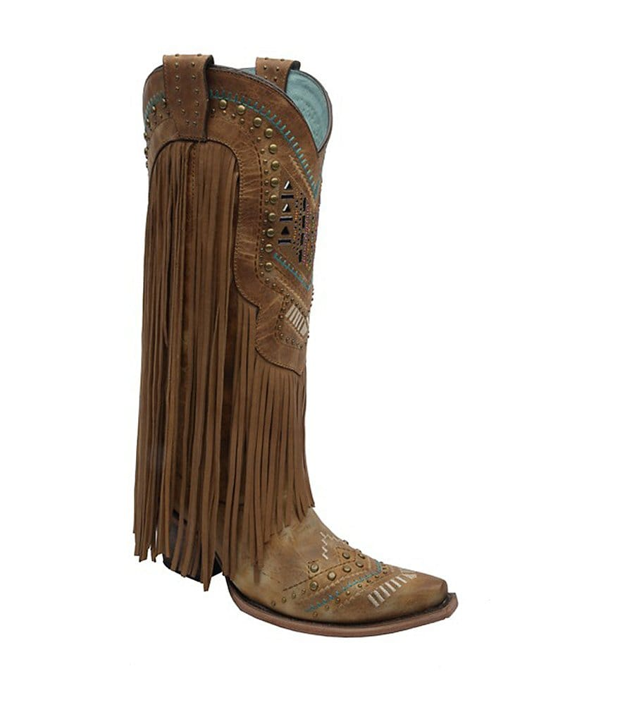 Corral Boots Fringe Snip-Toe Boots