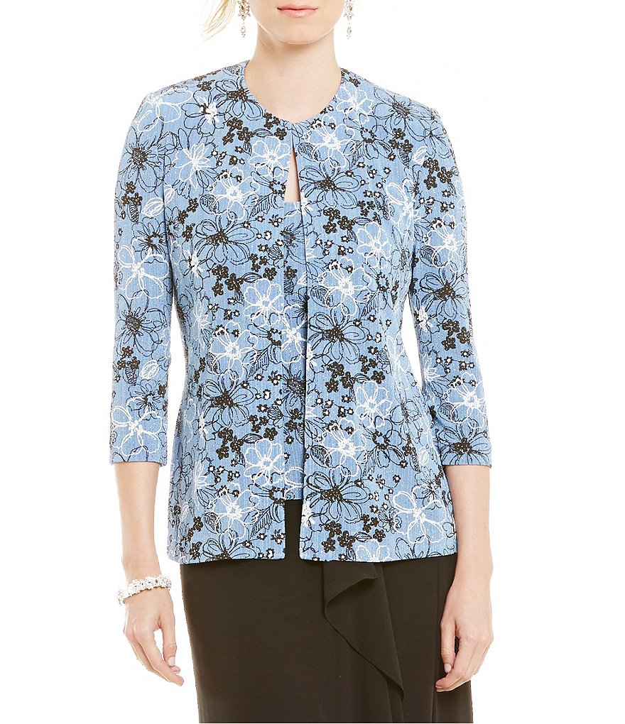 Alex Evenings Floral-Print Twinset