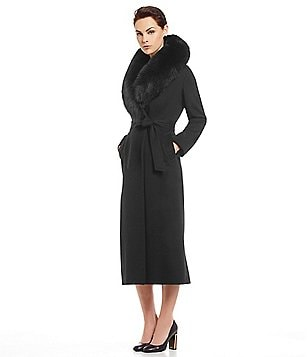 Katherine Kelly Fox-Fur Shawl Long Belted Wool-Cashmere Blend Wrap Coat