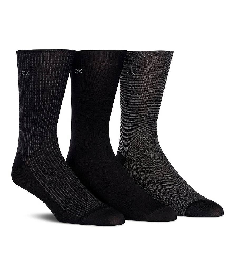 Calvin Klein Microfiber Neats Dress Crew Socks 3-Pack