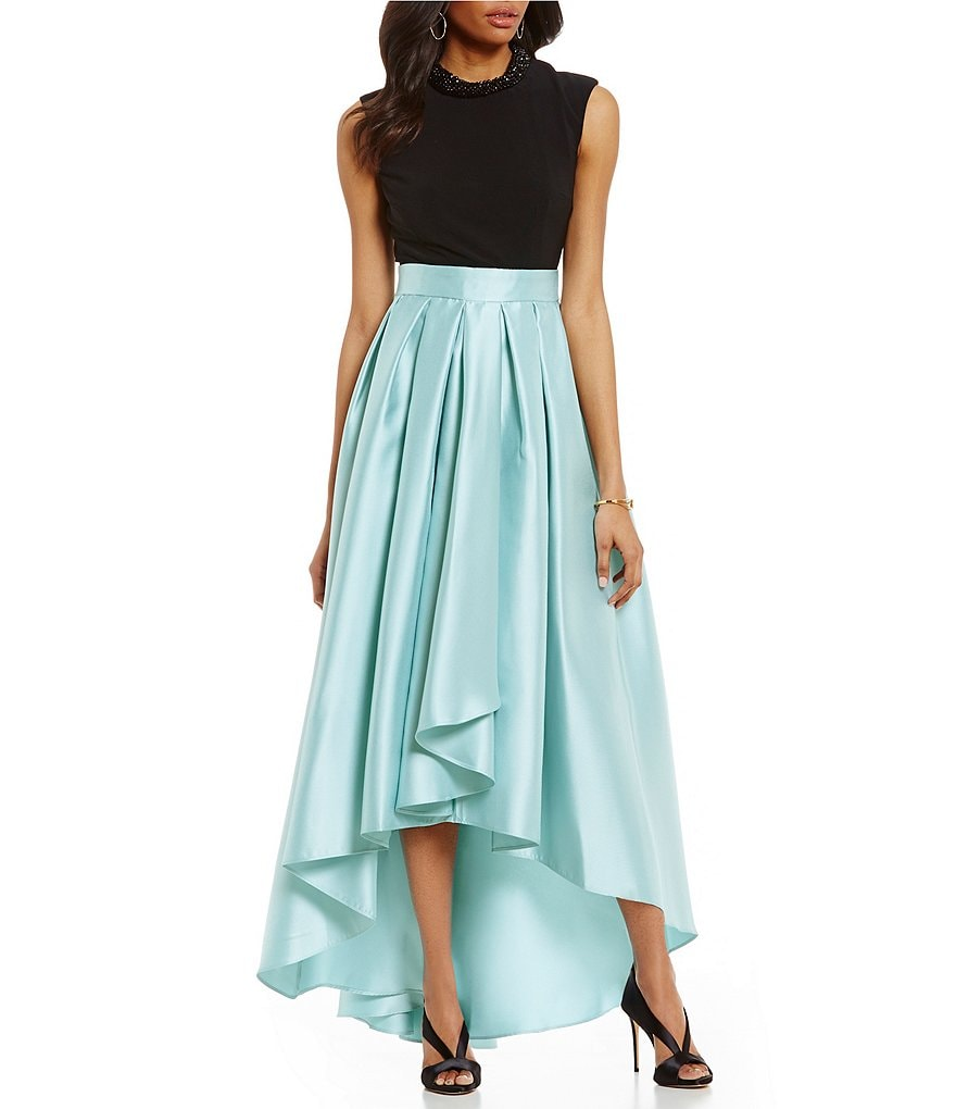 Ignite Evenings Lace Colorblock Hi-Low Mikado Gown