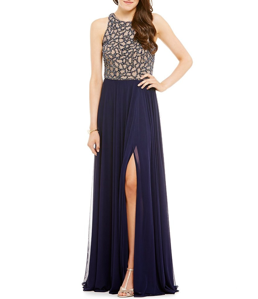 Glamour by Terani Couture High-Neckline Beaded Bodice Long Dress