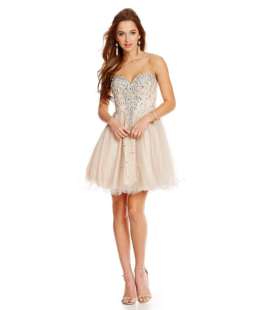 Glamour by Terani Couture Cascading Beads Short Swing Party Dress