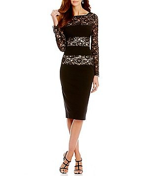 London Times Lace Blocked Sheath Dress