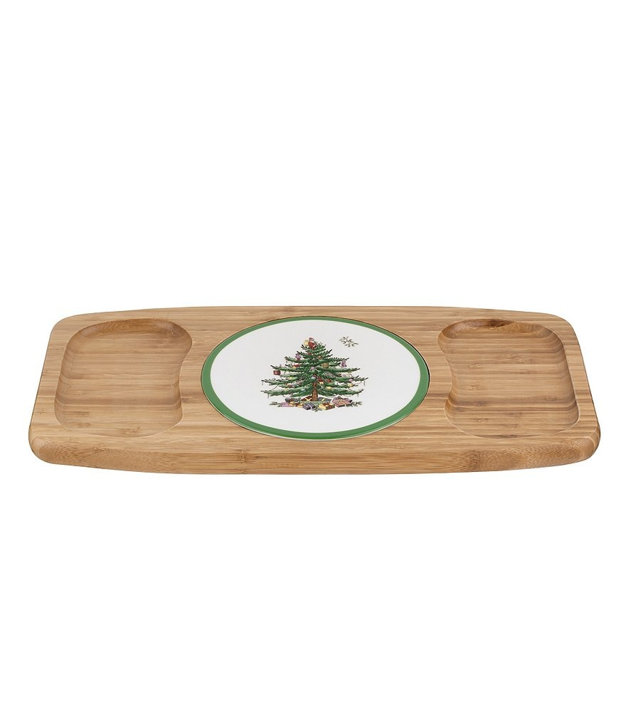 Spode Christmas Tree Entertaining Collection Wood and Ceramic Cheese Tray
