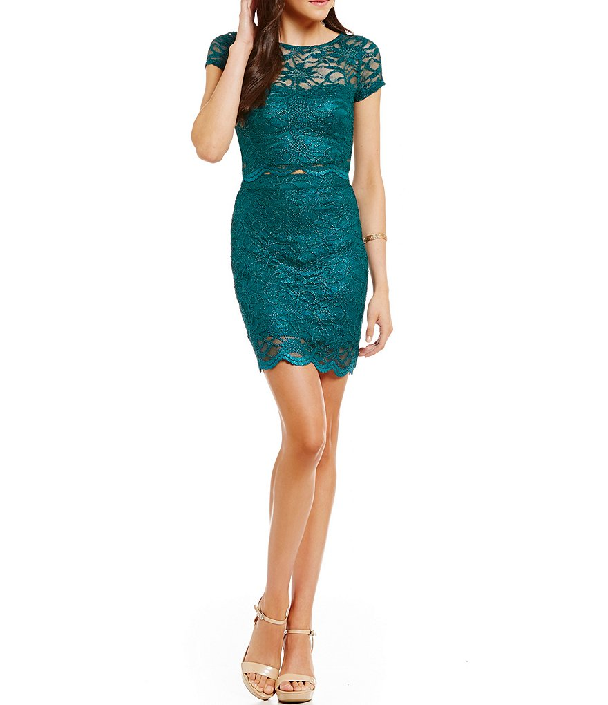Xtraordinary Metallic Lace Two-Piece Dress