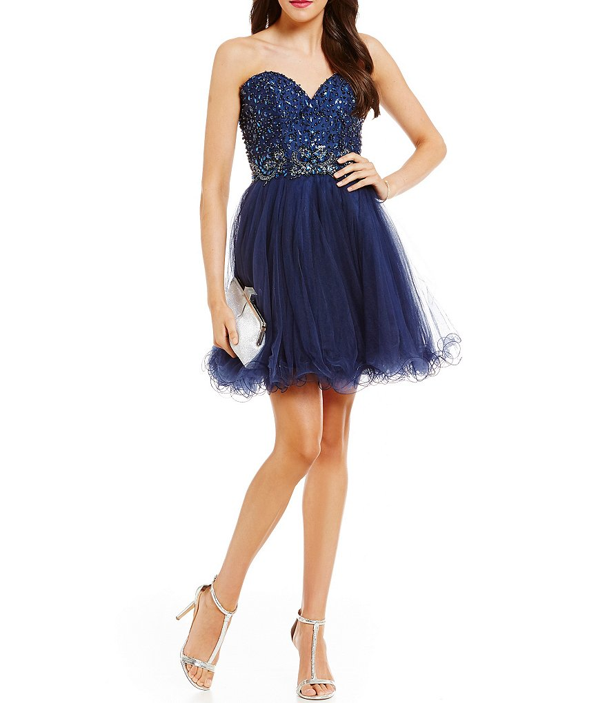 MAC by Mac Duggal Sweetheart-Embellished Bodice Swing Party Dress