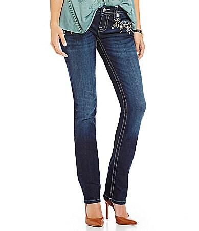 Miss Me Rhinestone-Embellished Straight-Leg Jeans