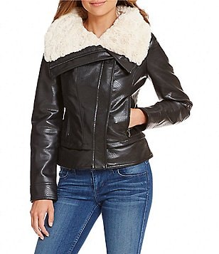 Guess Faux-Leather Moto Jacket with Faux-Shearling Collar