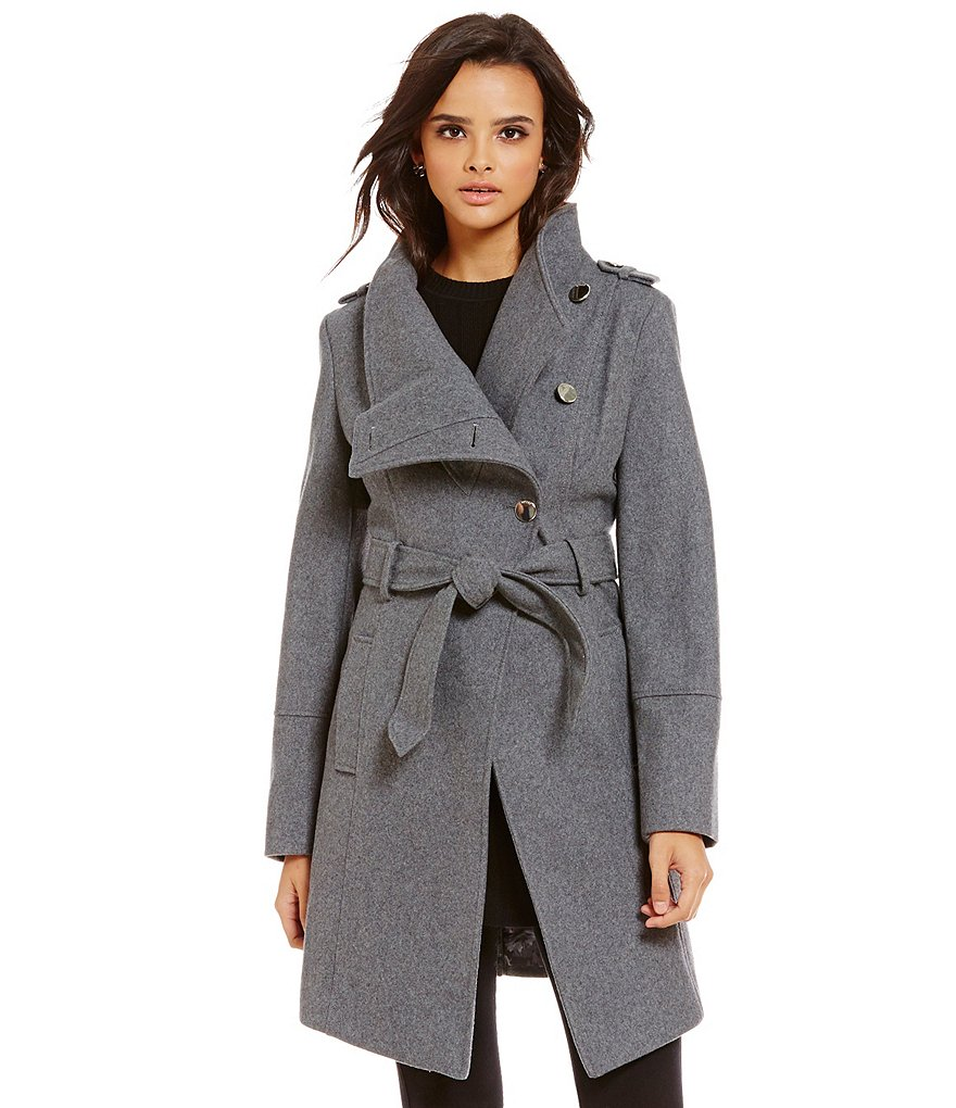 Guess Envelope Collar Asymmetrical Wool Trench