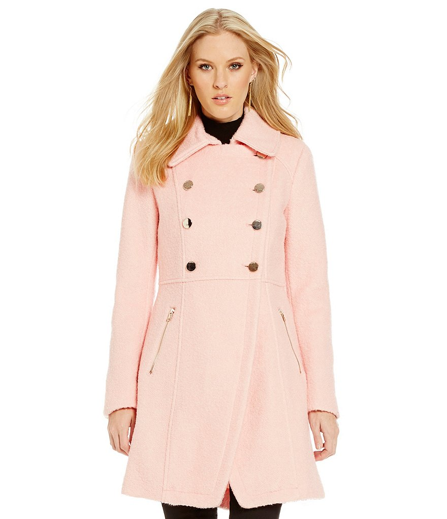 Guess Double-Breasted Fit-and-Flare Wool Coat