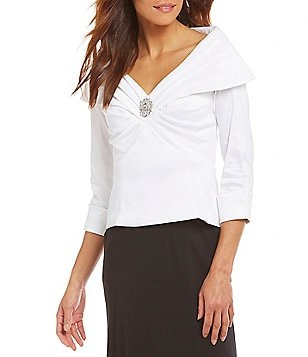 Emma Street Embellished Portrait-Collar Top